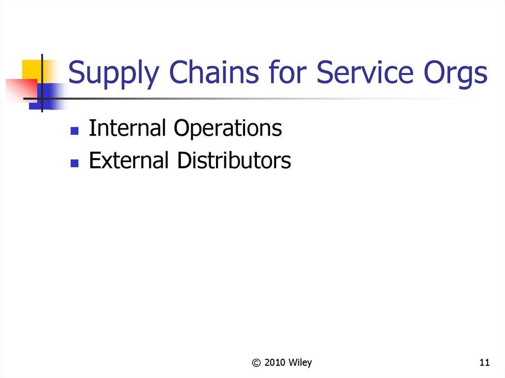 Supply Chains for Service Orgs