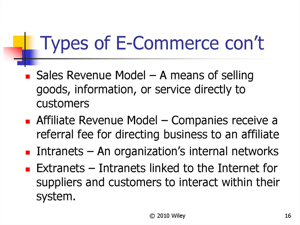 Types of E-Commerce con't