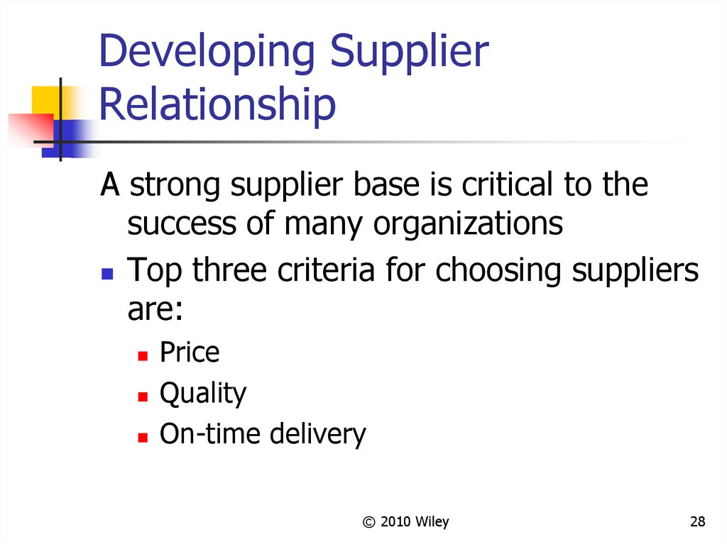 Developing Supplier Relationship
