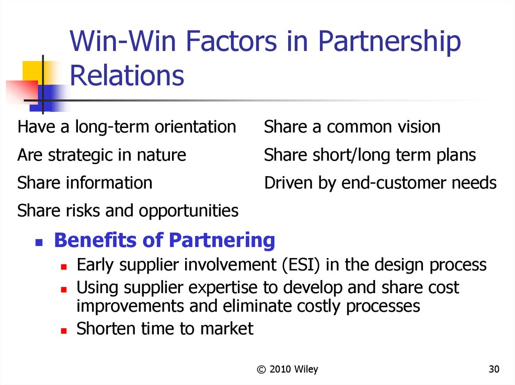 Win-Win Factors in Partnership Relations