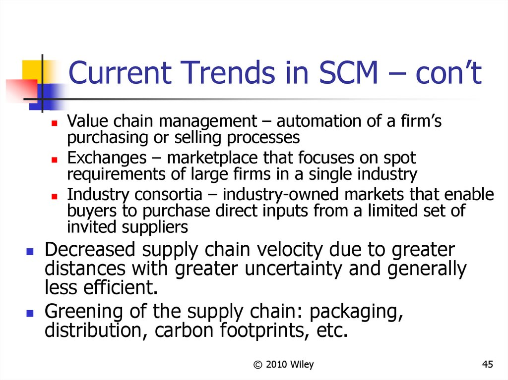 Current Trends in SCM – con't