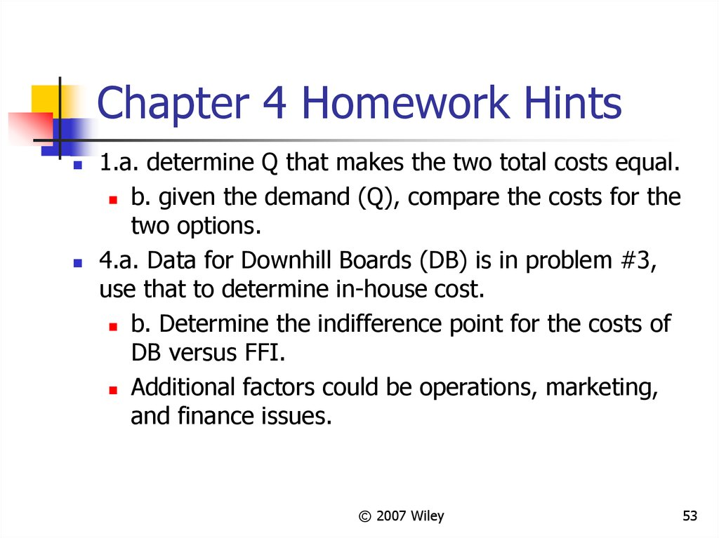 Chapter 4 Homework Hints