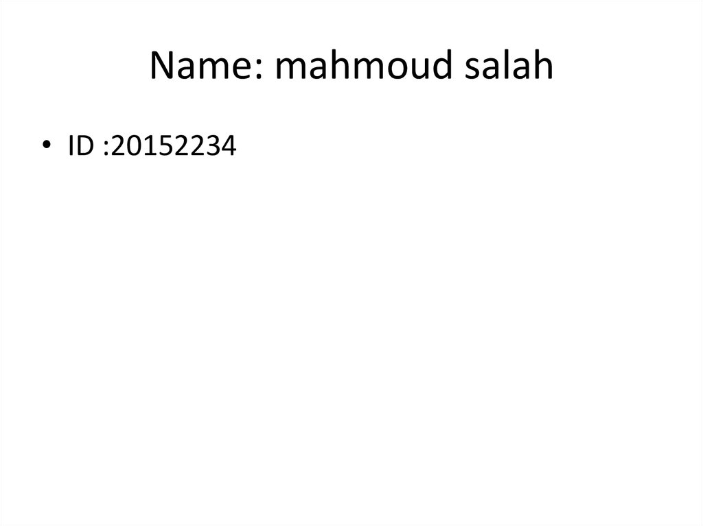 Name: mahmoud salah