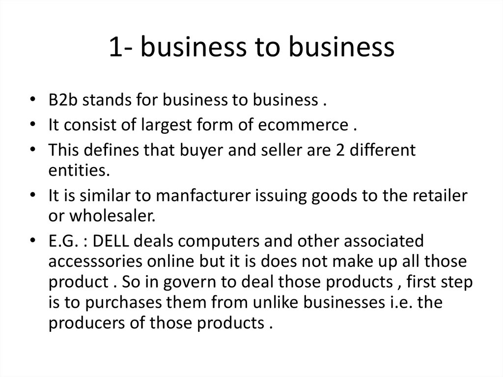 1- business to business