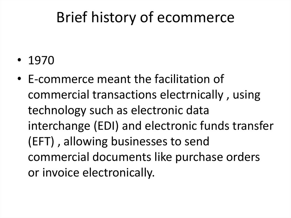 Brief history of ecommerce