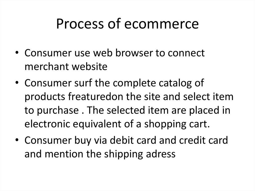 Process of ecommerce