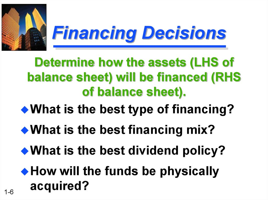 financing decision In financial management managers decisions in the light of three corporate decisions, investment decision, financing decisions and asset management decisions manager should be judicious and visionary to take such types of decision.