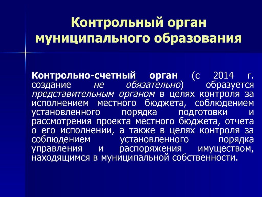 Местное самоуправление Тема online presentation  Контрольный орган муниципального образования