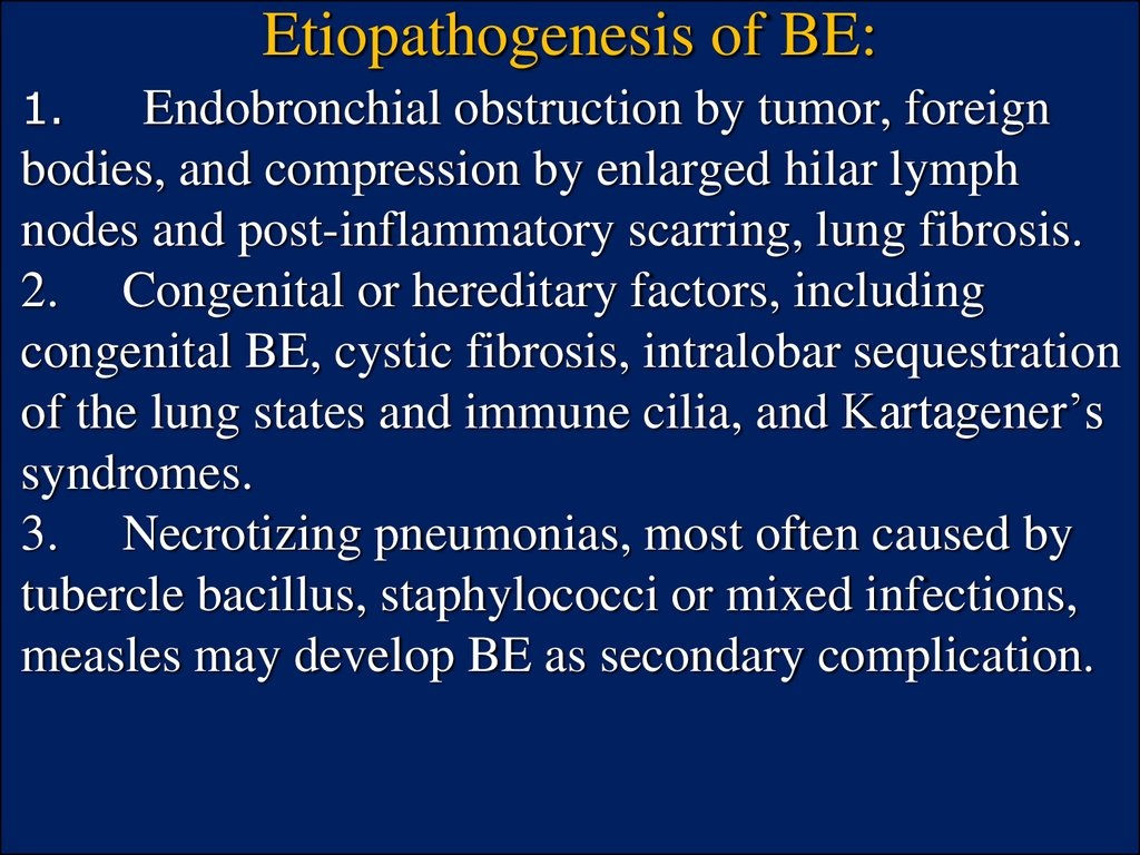 Etiopathogenesis of BE: