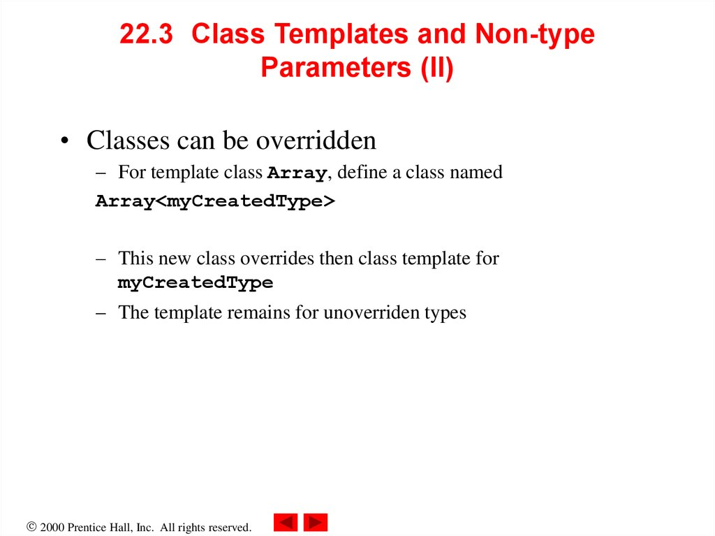 22.3 Class Templates and Non-type Parameters (II)