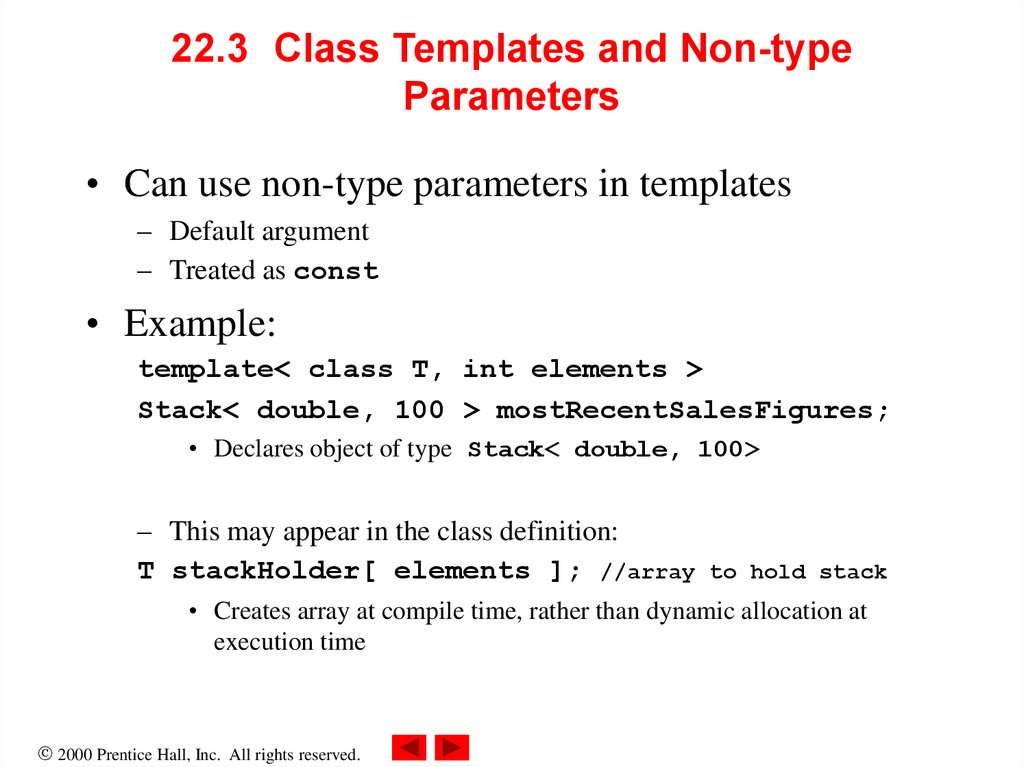 22.3 Class Templates and Non-type Parameters
