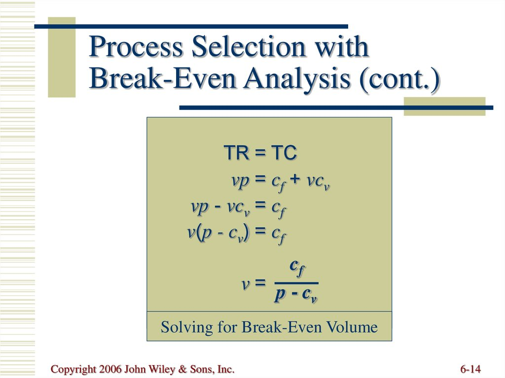 Process Selection with Break-Even Analysis (cont.)