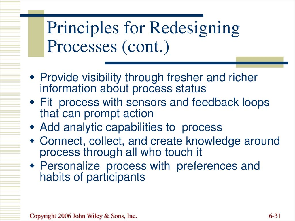 Principles for Redesigning Processes (cont.)