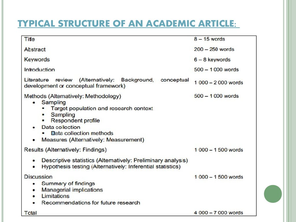 TYPICAL STRUCTURE OF AN ACADEMIC ARTICLE: