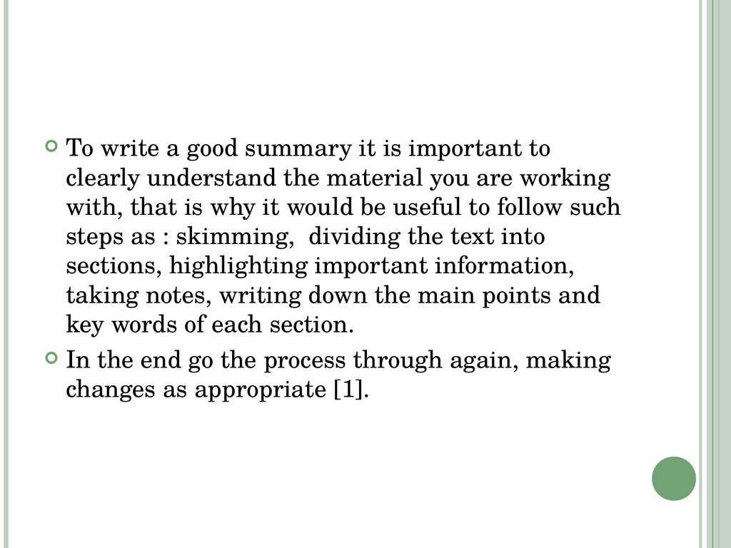 For Students: How to write a summary of an academic