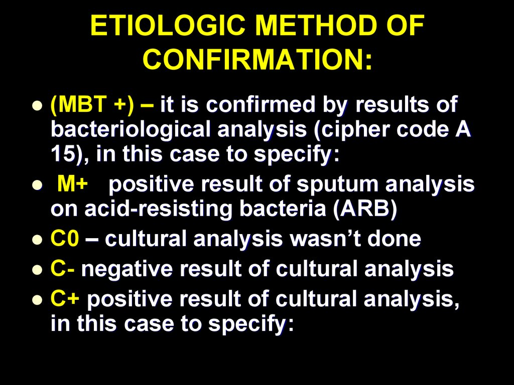 ETIOLOGIC METHOD OF CONFIRMATION: