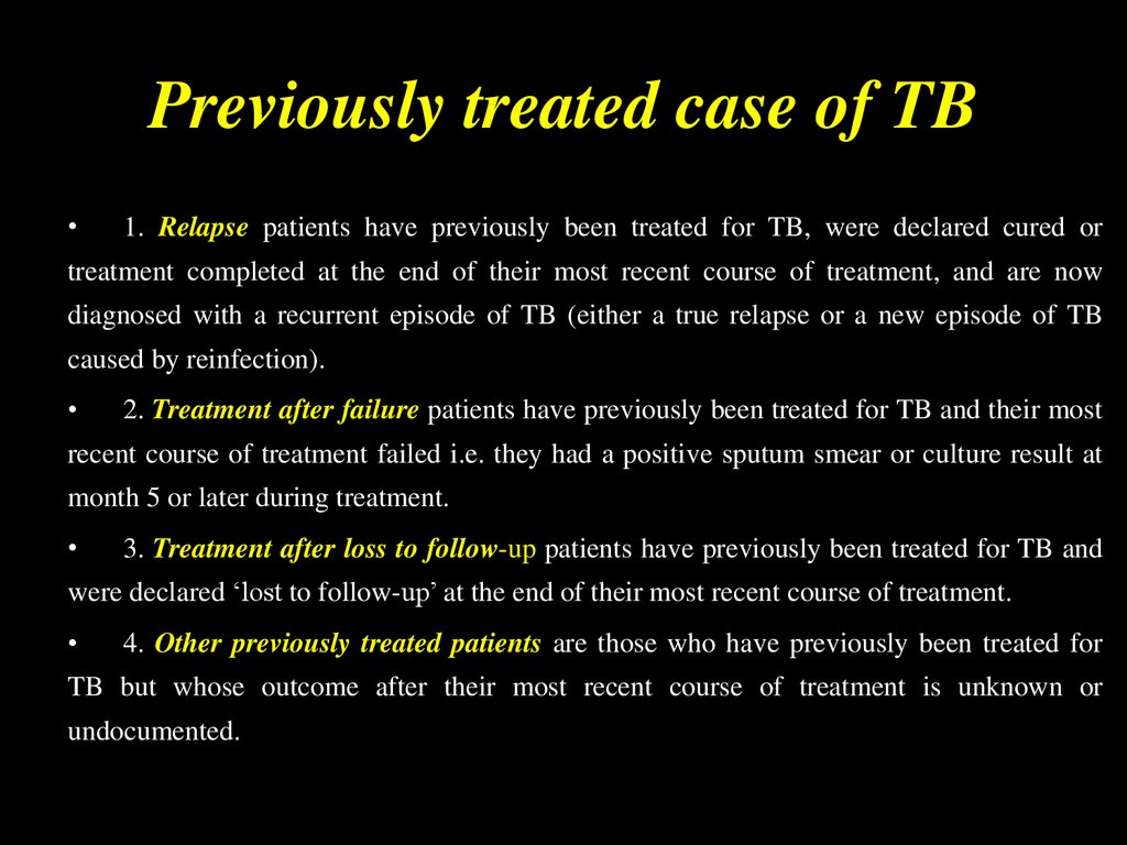 Previously treated case of TB