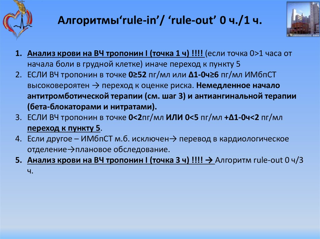 Алгоритмы'rule-in'/ 'rule-out' 0 ч./1 ч.