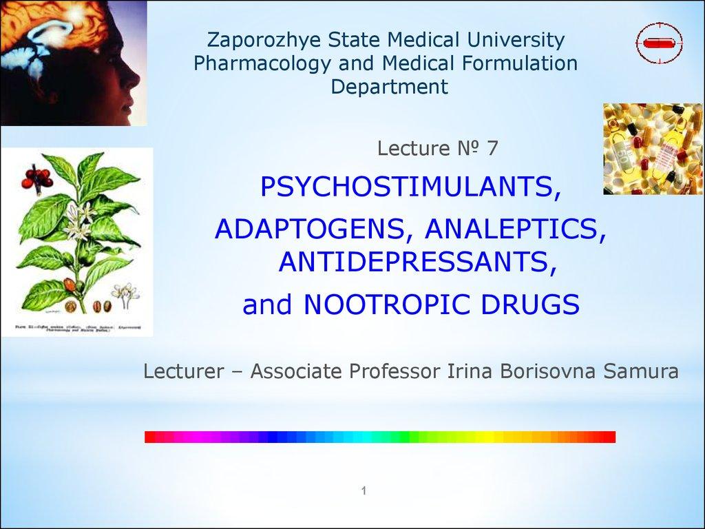 Psychostimulants Adaptogens Analeptics Antidepressants And
