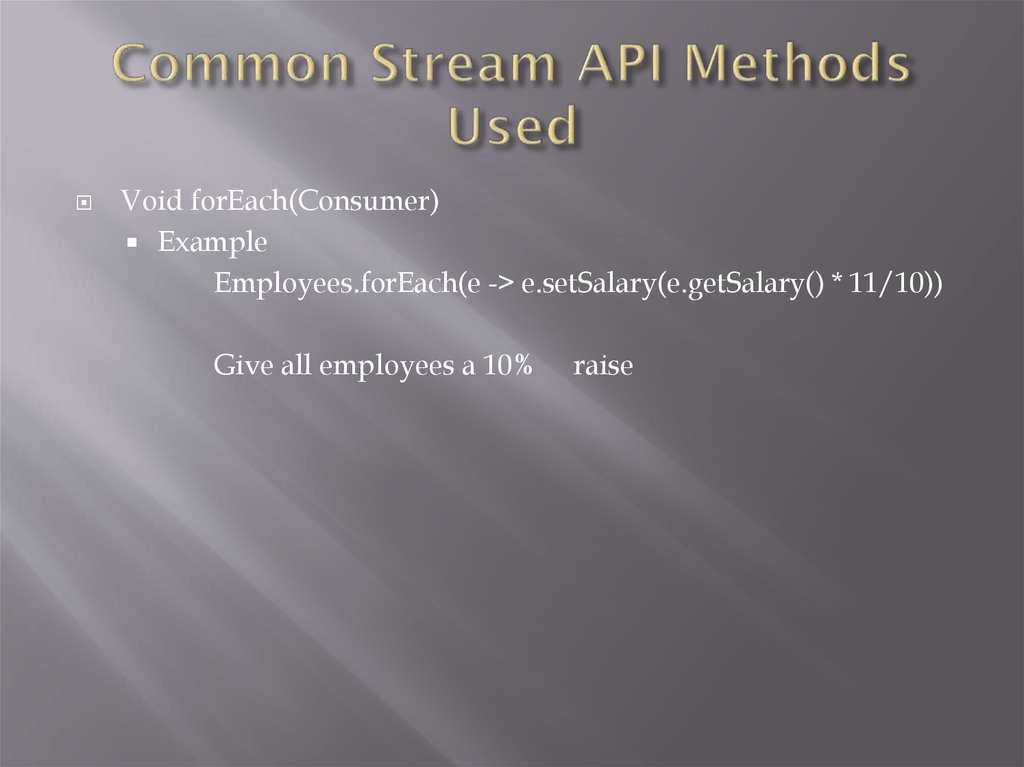 Common Stream API Methods Used
