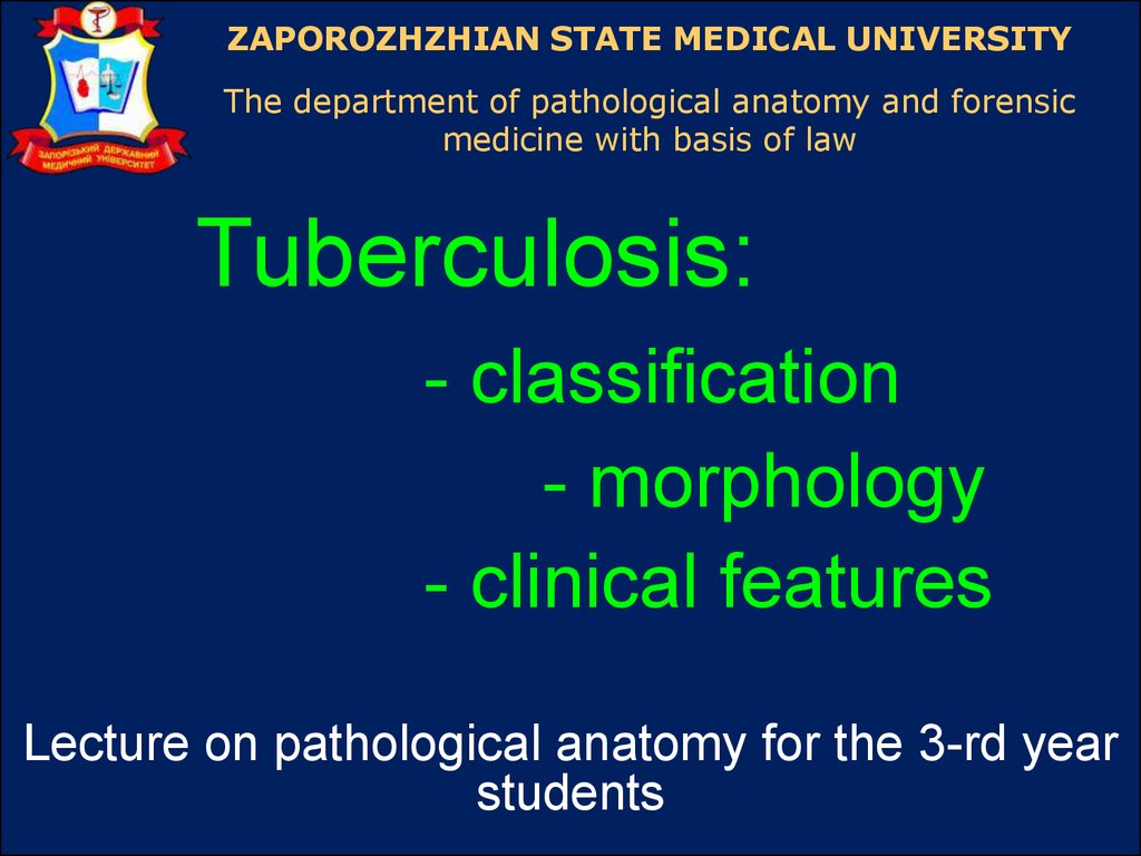 Tuberculosis Classification Morphology Clinical Features
