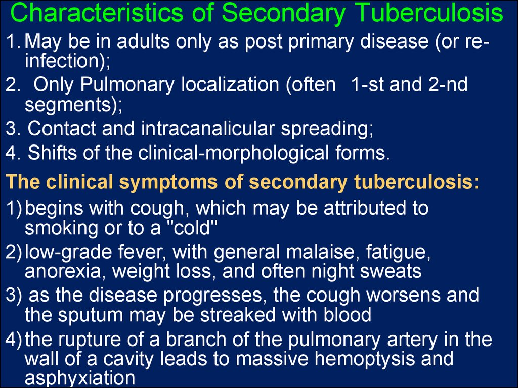 Characteristics of Secondary Tuberculosis