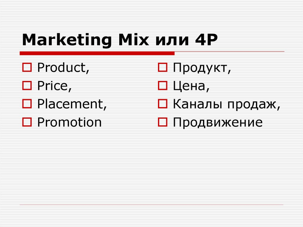 Marketing Mix или 4Р