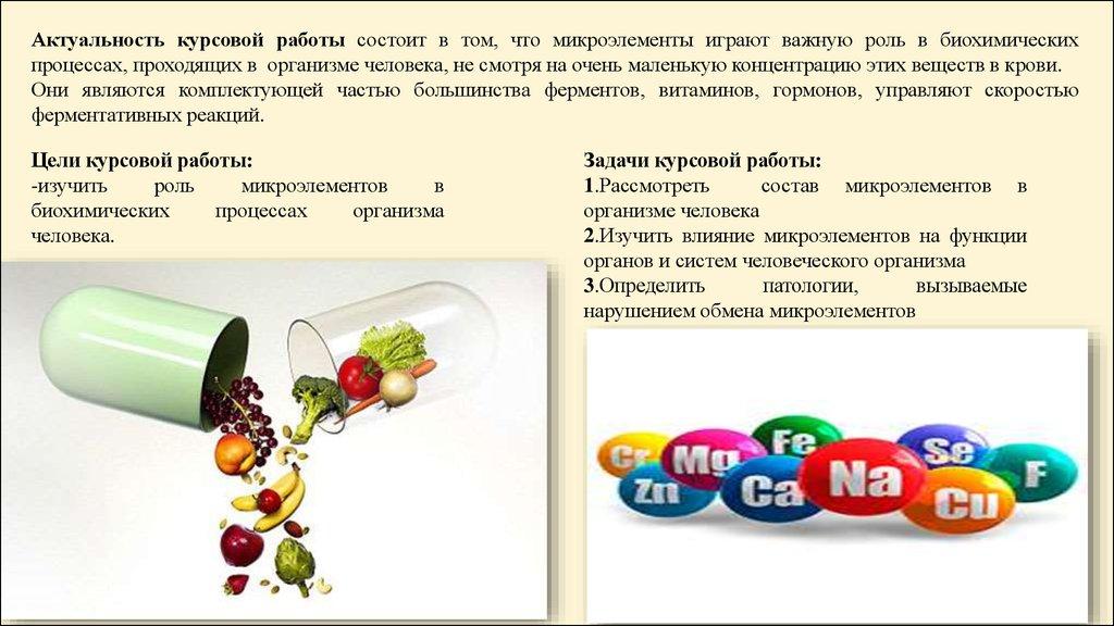 Курсовая работа Влияние микроэлементов на физиологические  Актуальность курсовой работы состоит в том что микроэлементы играют важную роль в биохимических процессах проходящих в организме человека