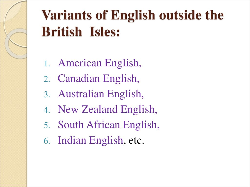 Variants of English outside the British Isles: