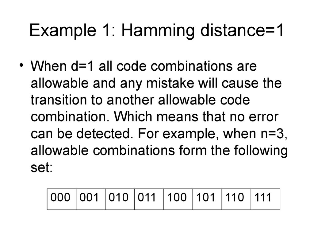 Example 1: Hamming distance=1