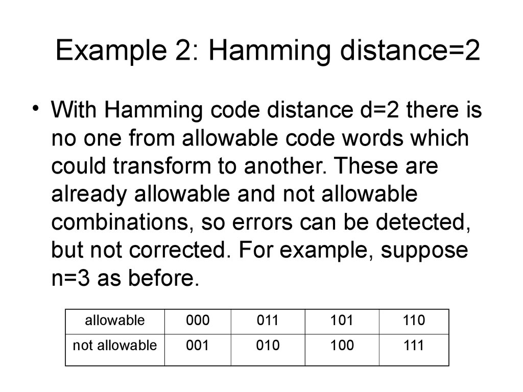 Example 2: Hamming distance=2