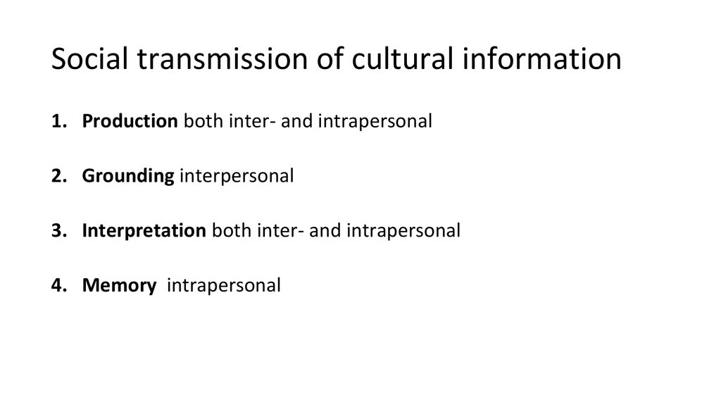 production both inter and intrapersonal and translates it into transmissible form 2 grounding interpersonal about the produced cultural information