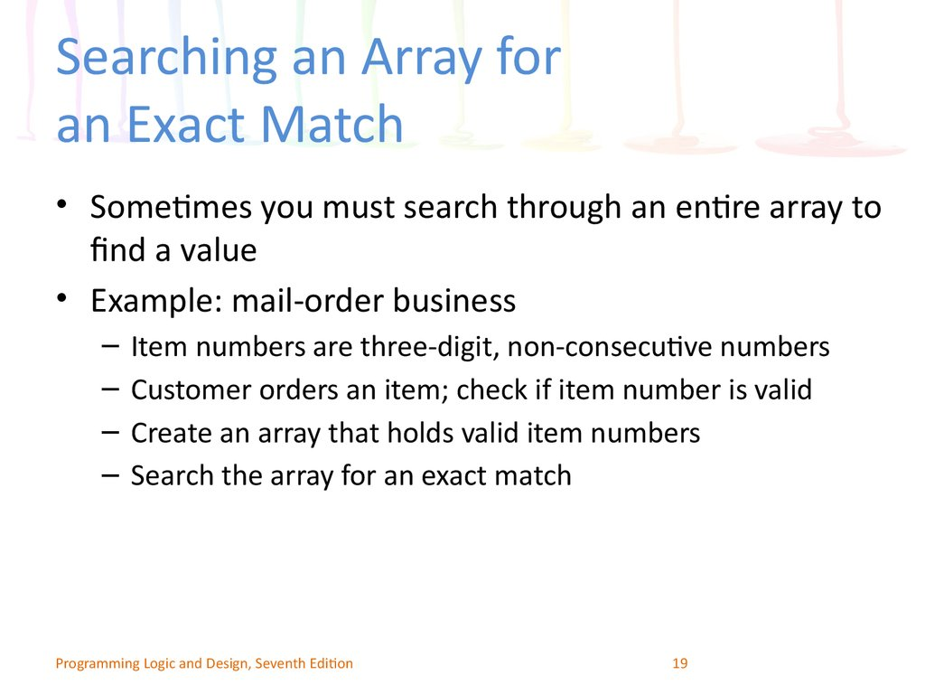 Searching an Array for an Exact Match