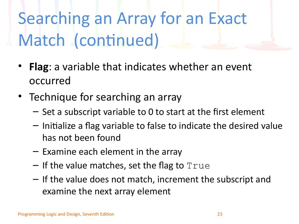 Searching an Array for an Exact Match (continued)
