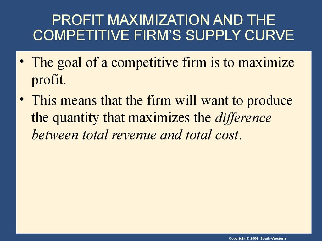 profit maximisation model Production maximization and cost minimization recall that in consumer choice we take budget constraint as fixed and move indifference curves to find the optimal point.