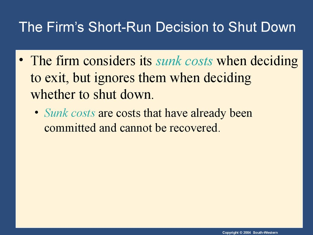 which costs are relevant in the decision to shut down the facility Short-run decision making: relevant costing practical applications to • relevant cost analysis is also known as (fixed costs – shut down costs.