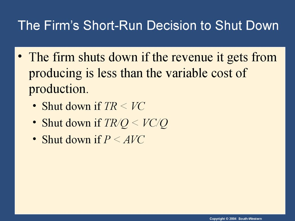 The Firm's Short-Run Decision to Shut Down