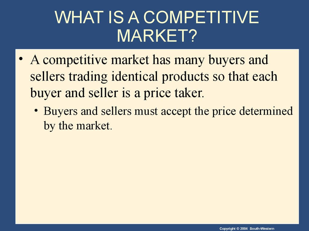WHAT IS A COMPETITIVE MARKET?