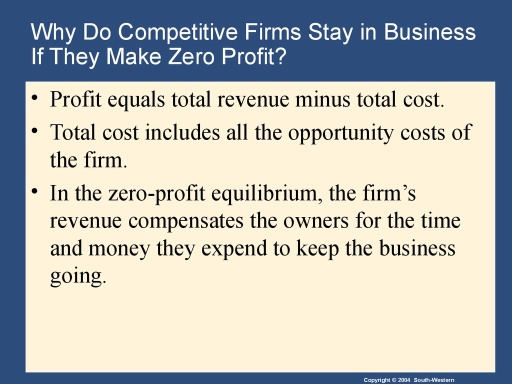 Why Do Competitive Firms Stay in Business If They Make Zero Profit?