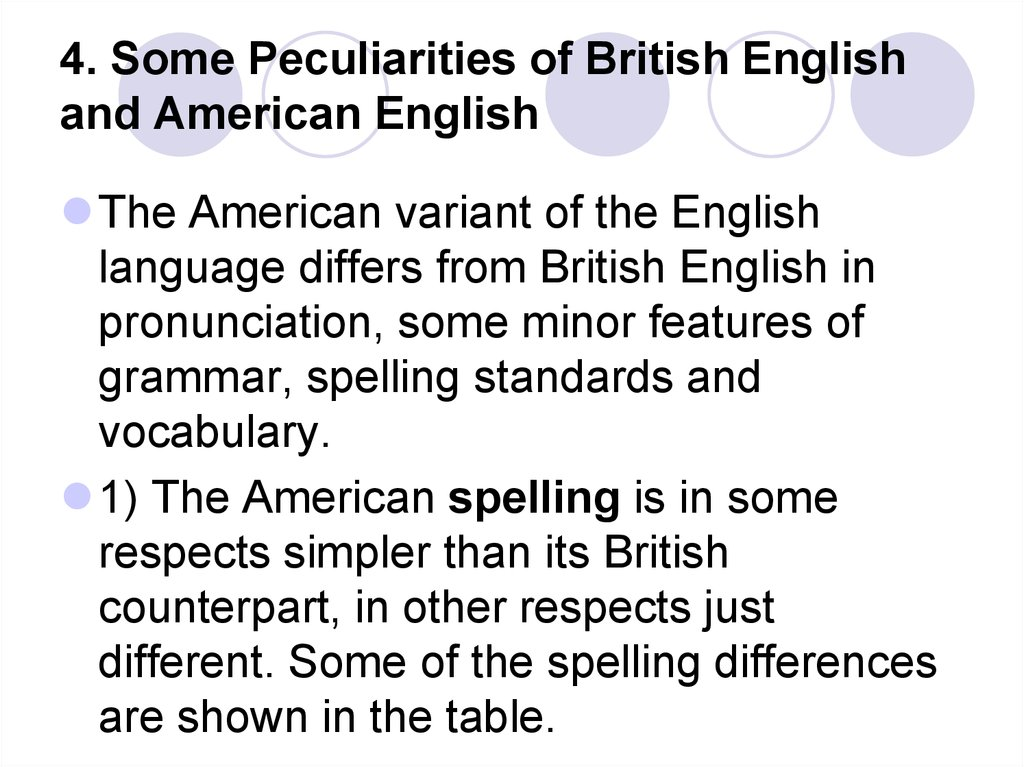 4. Some Peculiarities of British English and American English