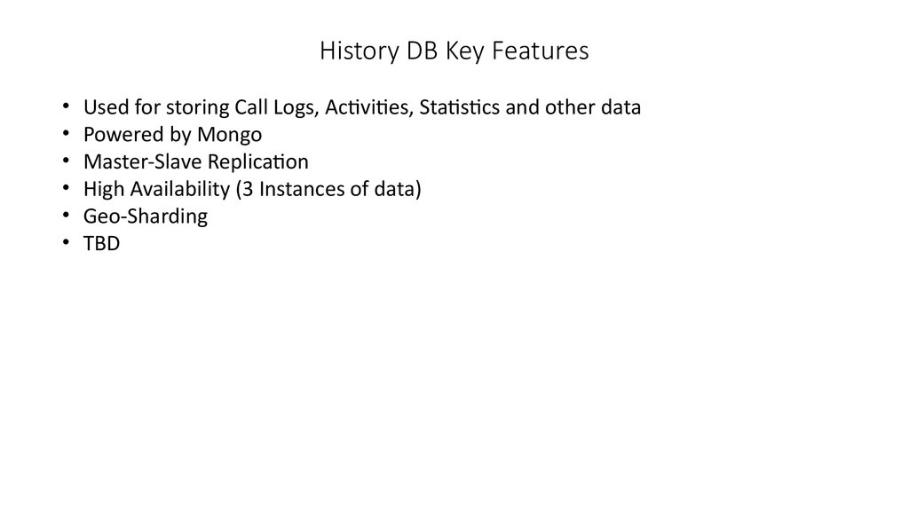 History DB Key Features