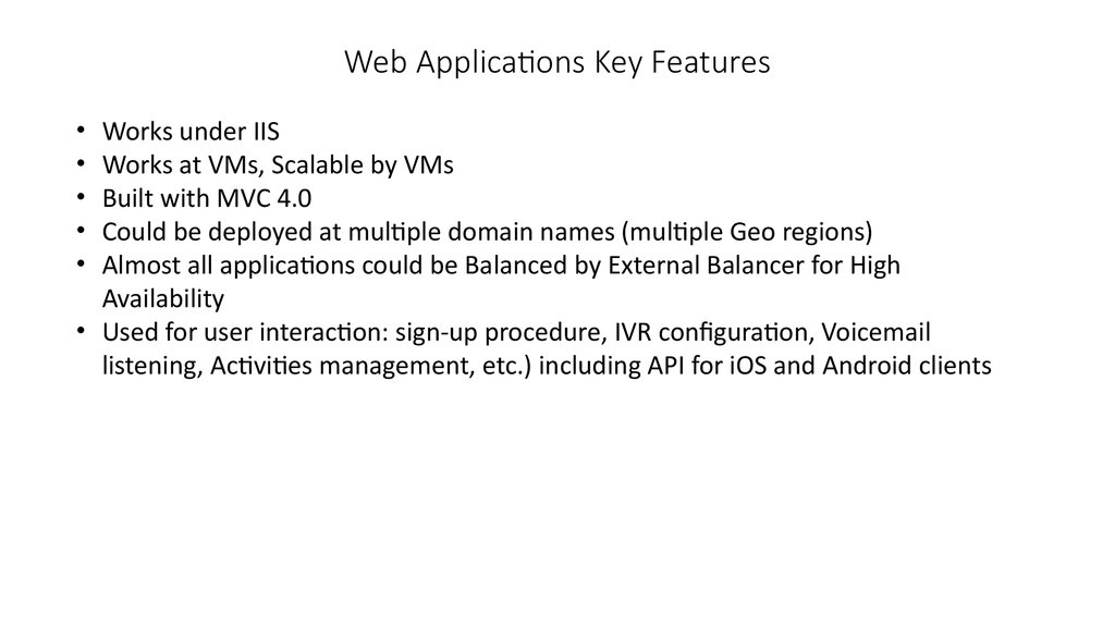 Web Applications Key Features