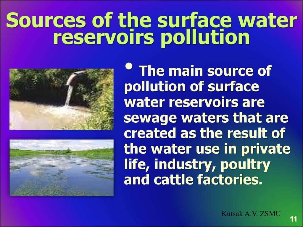 Sources of the surface water reservoirs pollution