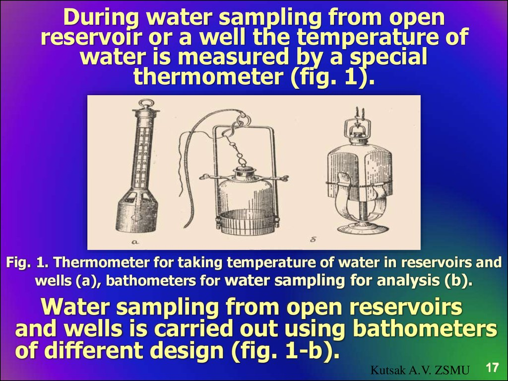 During water sampling from open reservoir or a well the temperature of water is measured by a special thermometer (fig. 1).