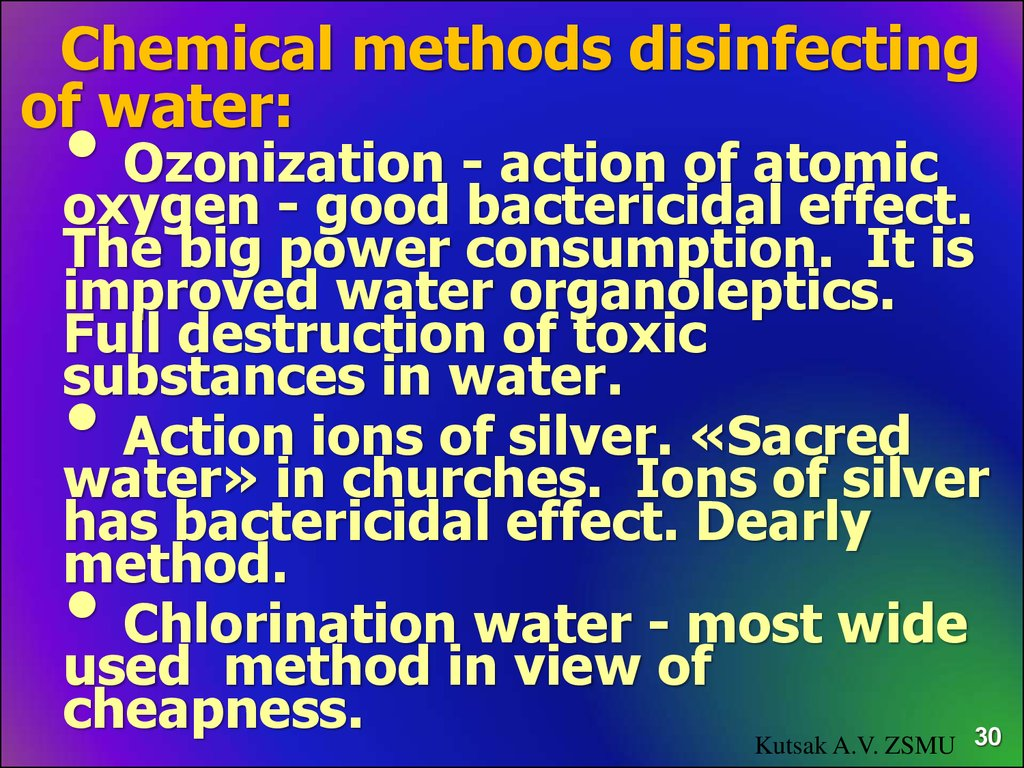 Chemical methods disinfecting of water: