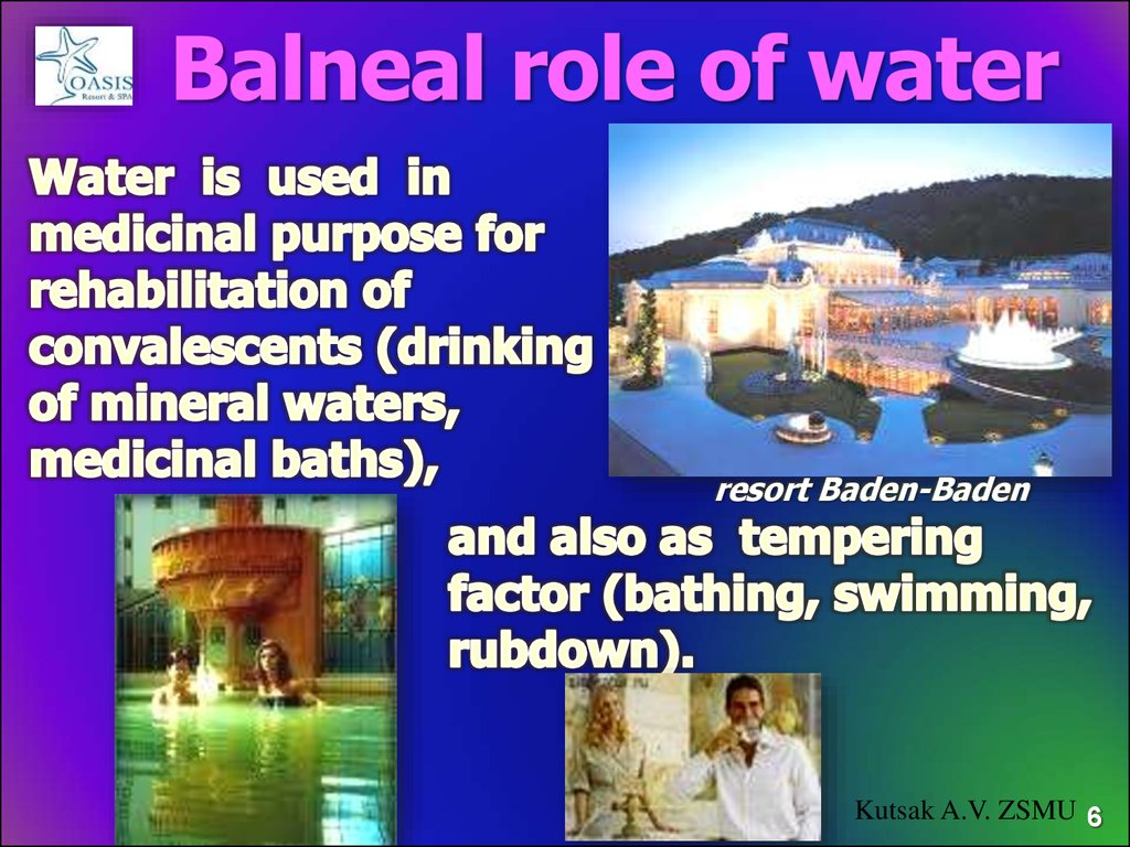Balneal role of water