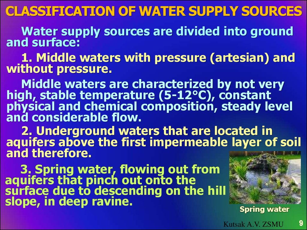 Classification of water supply sources