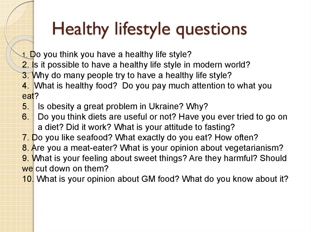 Healthy lifestyle questions
