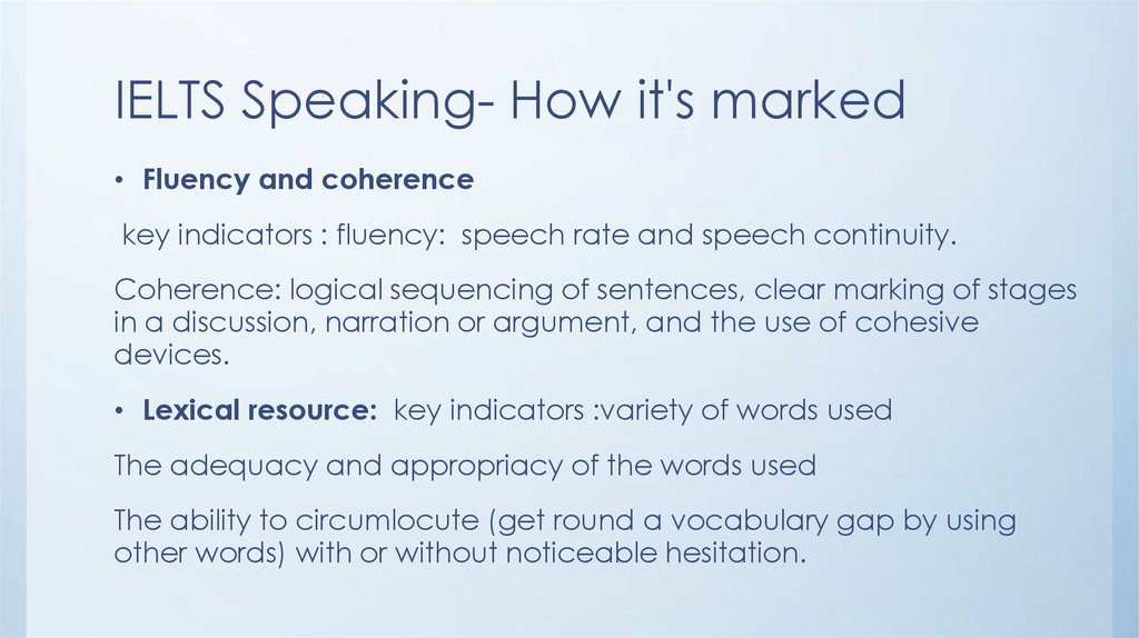 IELTS Speaking- How it's marked