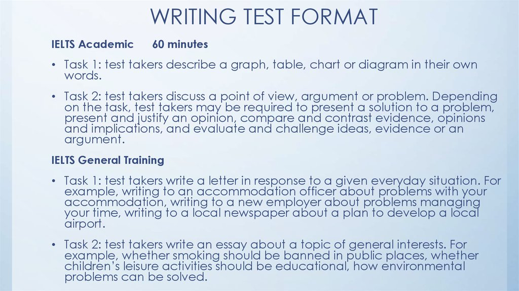 WRITING TEST FORMAT